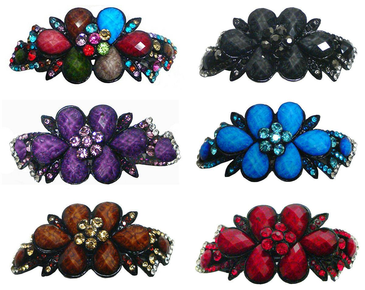 large barrette hair clip decorated with beads