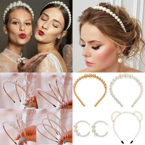 luxury big pearl headband women cat ear