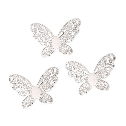 MagiDeal 50 Hollow Filigree Butterfly Charms Metal Slices for Tassel Hair Findings Making - White K