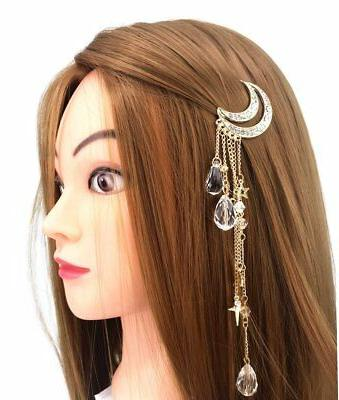QTMY Moon with Crystal Hair Clip Accessories