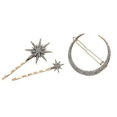 moon star crystal hair pins