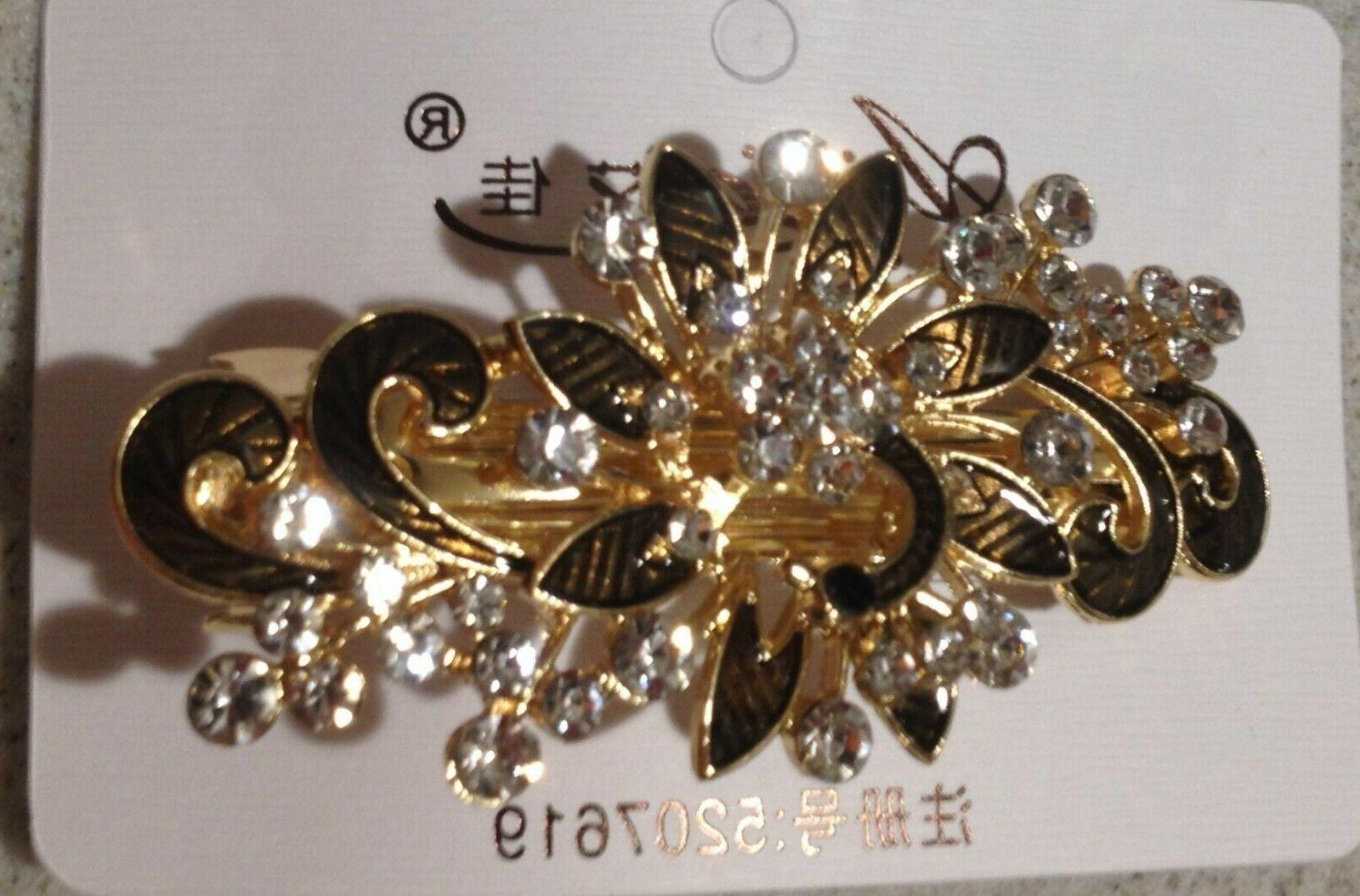 multilayered peacock shaped rhinestone french barrette hair