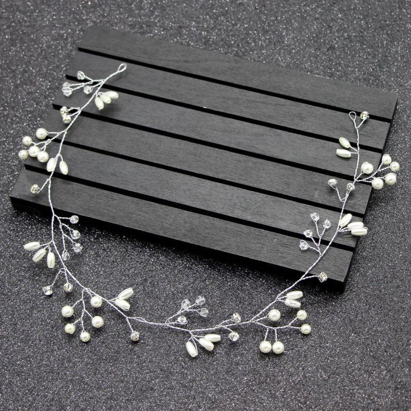 Wedding Pearl Headband Bridal Accessories Long Chain Headpiece