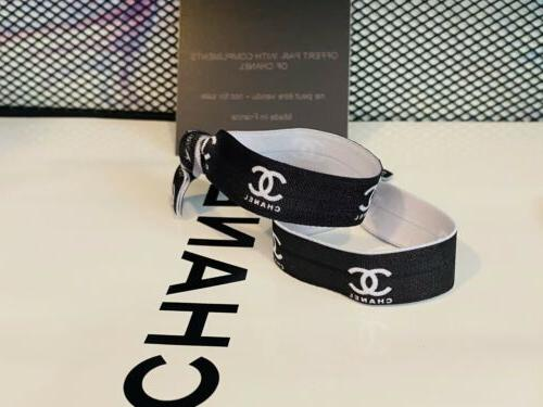 NEW Chanel Hair VIP Gift Ties 2 PIECE SET