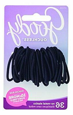 Goody Ouchless Hair Elastics, Black, 36 Count