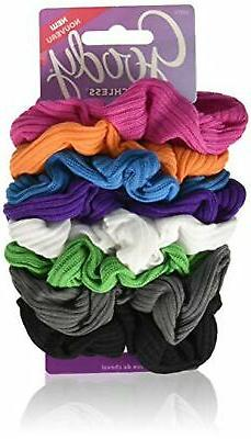 Goody Ouchless Ribbed Hair Scrunchies, Bright Stripe  MF
