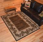 Pine Cone Border Area Rug 2x3 2x8 5x8 or 8x10~ Rustic Pineco