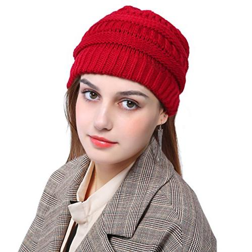 VeMee Ponytail Hat Knit Hat Beanies Solid Stretch Cable Knit Hat Cap