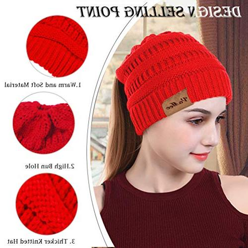 VeMee Winter Hat Knit Hat Tail Beanies Messy Solid Stretch Cable Knit Hat Cap