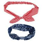 Lux Accessories Red Blue Chequered Style Paisley Print Hair