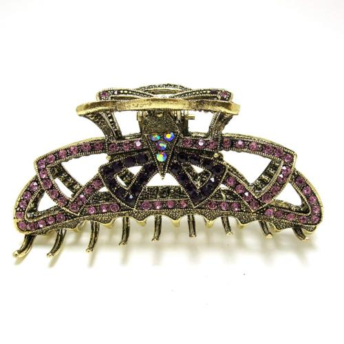 beautyxyz Rhinestone Metal Claw Hair Clip for Womens, purple