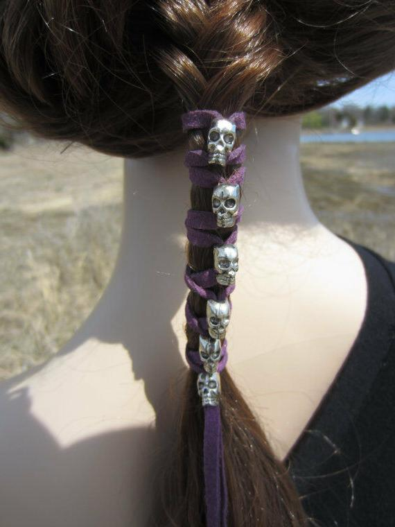 SKULL Leather Ties Ponytail Beaded Goth