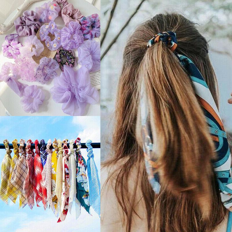 Solid Floral Bow Scrunchie Hair Band Elastic Hair Ties Rope