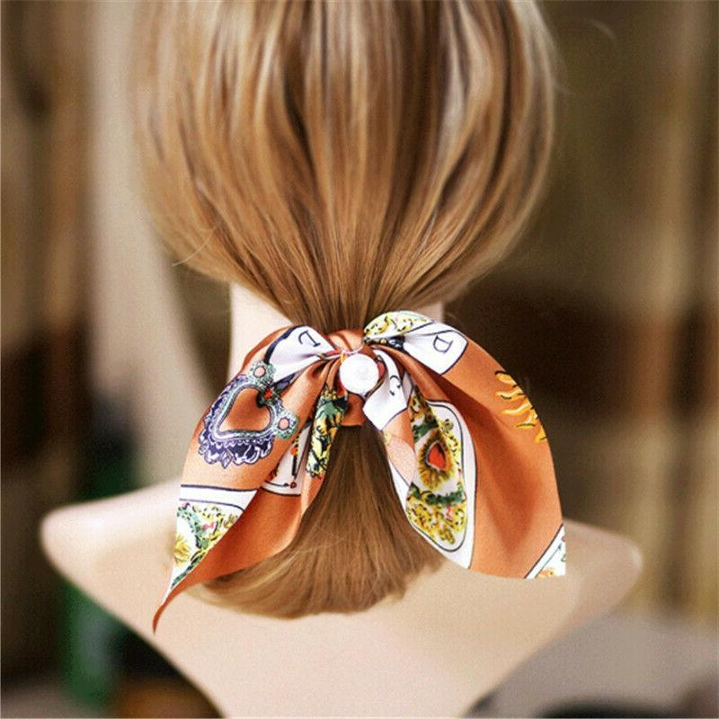 Solid Floral Bow Hair Elastic Ties Rope Scarf