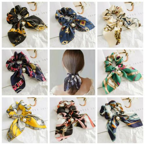 Solid Floral Bow Hair Ties
