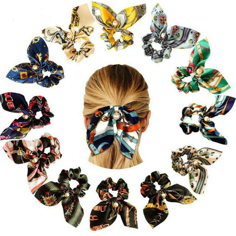 Solid Floral Bow Hair Ties Rope Scarf