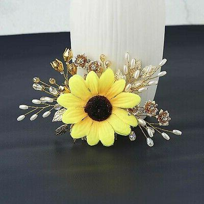 Aukmla Hair Piece Flowers and Leaves Headpieces Fall