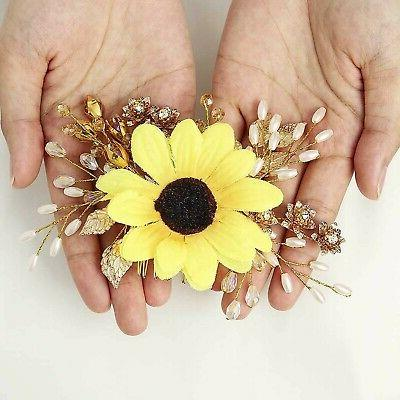 Aukmla Sunflower Hair Piece Flowers and Fall