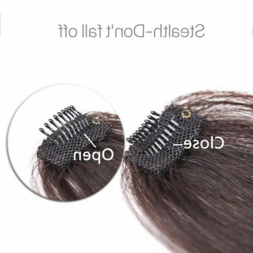 Real Human Hair Clip on Bangs Clip in Front Hairpiece