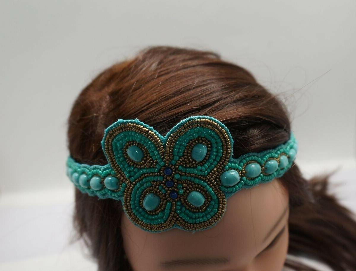 Turquoise Gold Beaded Butterfly Headband India