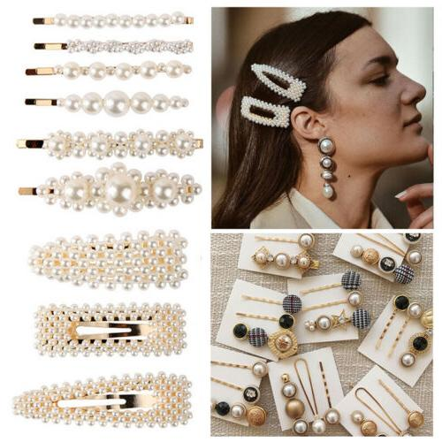 us fashion pearl hair clip hairband comb