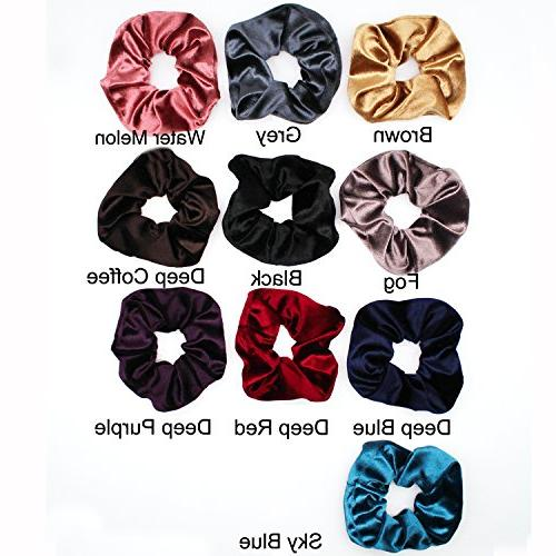 Velvet Scrunchies For - Scrunchie Set Elastics for Women Hair Bands for Girls Damage Long Curly & Hair