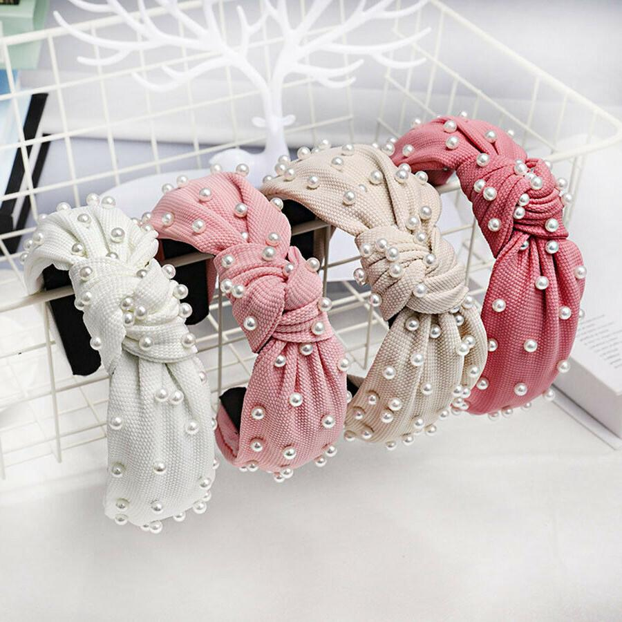 vintage knotted pearl hairband knot headband hair