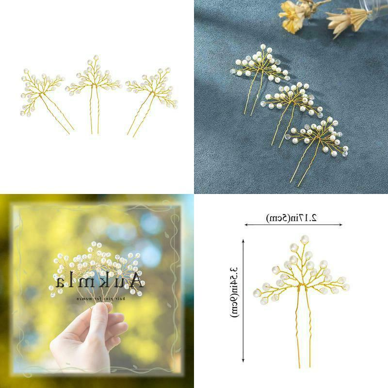 wedding hair pin with white pearl