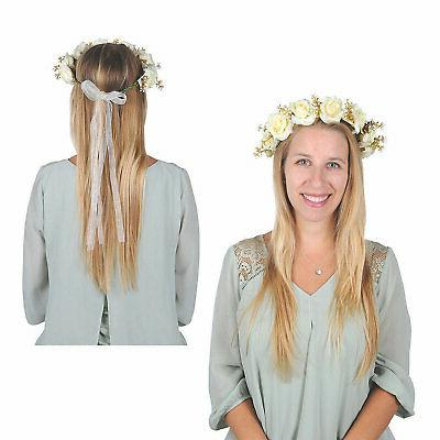 white wedding floral crown apparel accessories 1