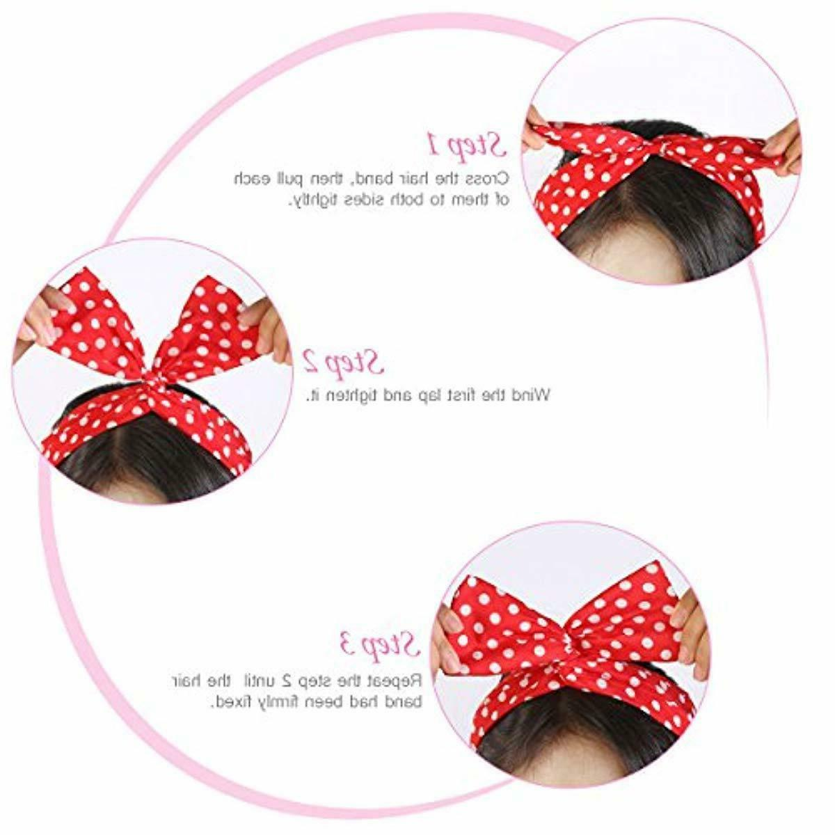 PIXNOR Wire Bowknot Dot Hair Holders and
