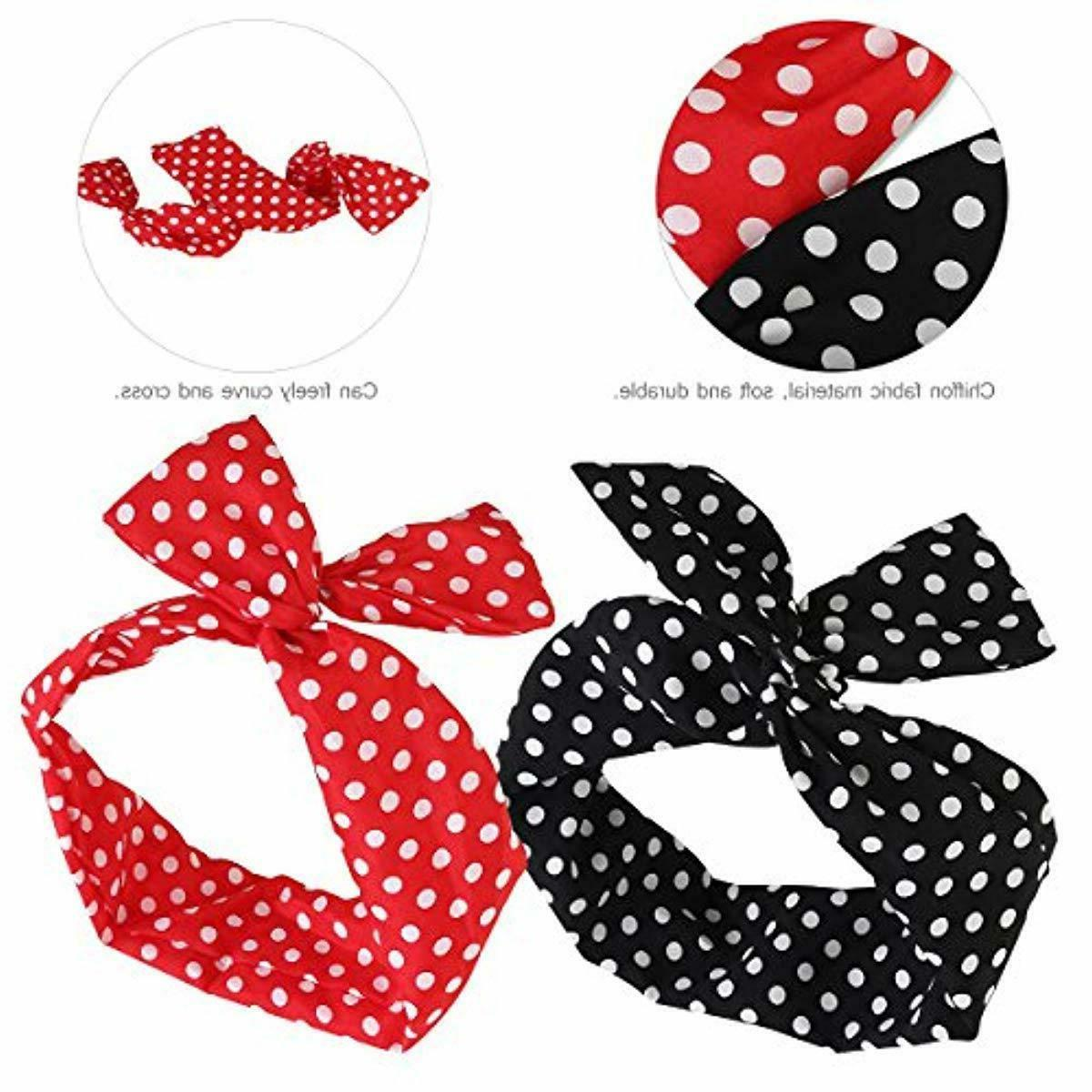 PIXNOR Wire Headband Bowknot Dot Hair Women and Gir