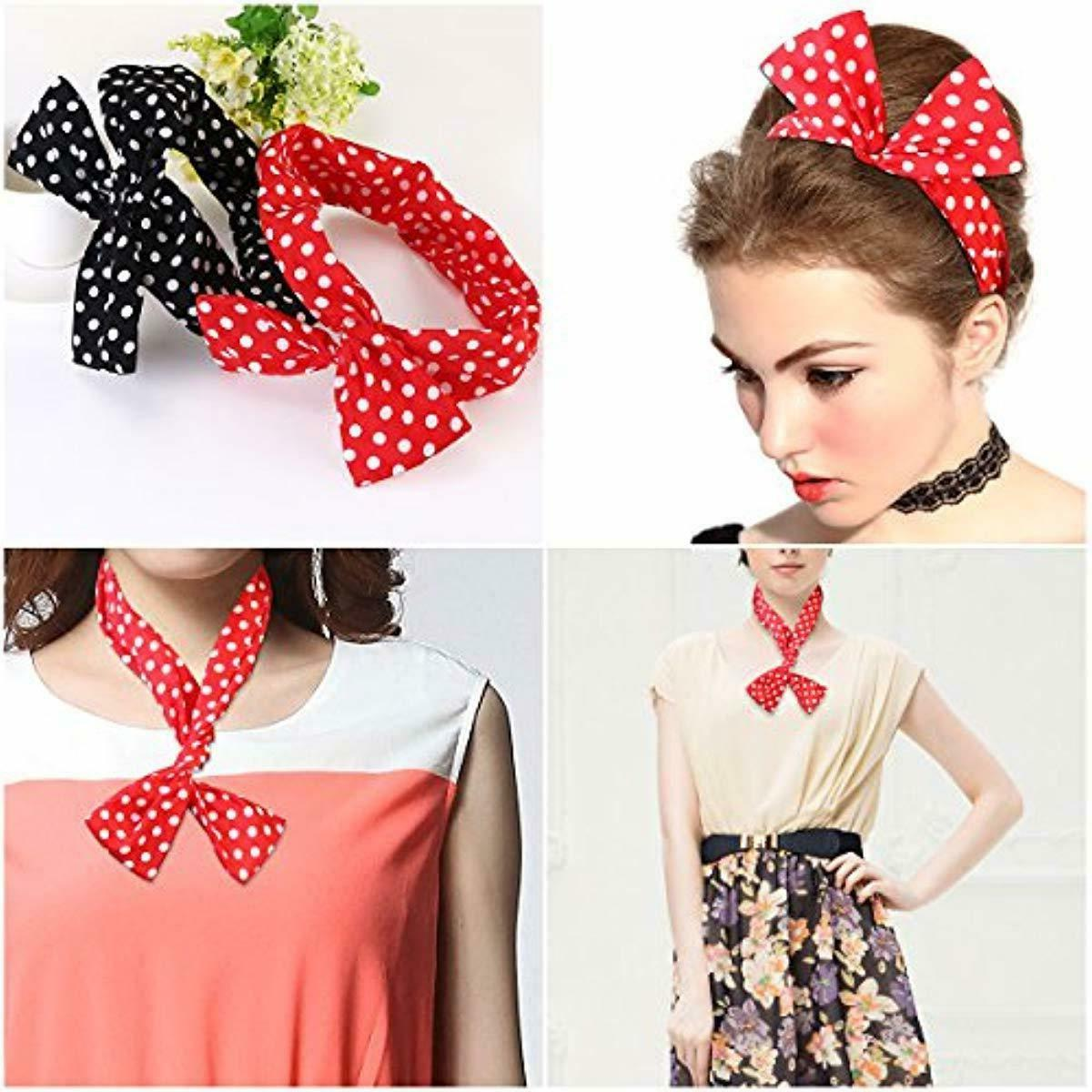 PIXNOR Retro Bowknot Polka Dot Wire and Gir