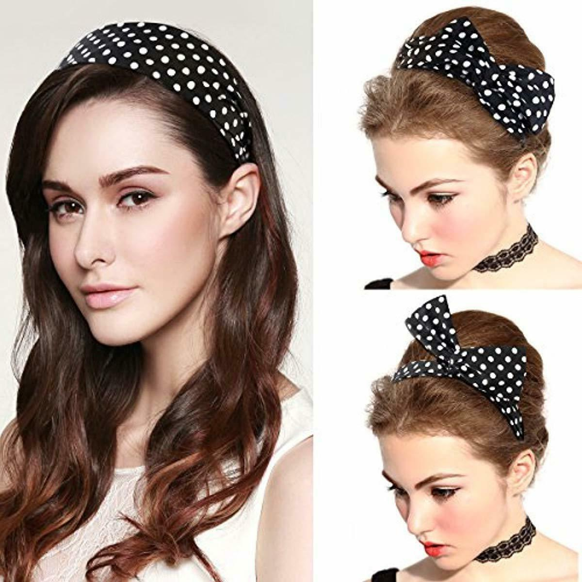 PIXNOR Bowknot Polka Dot Hair Women