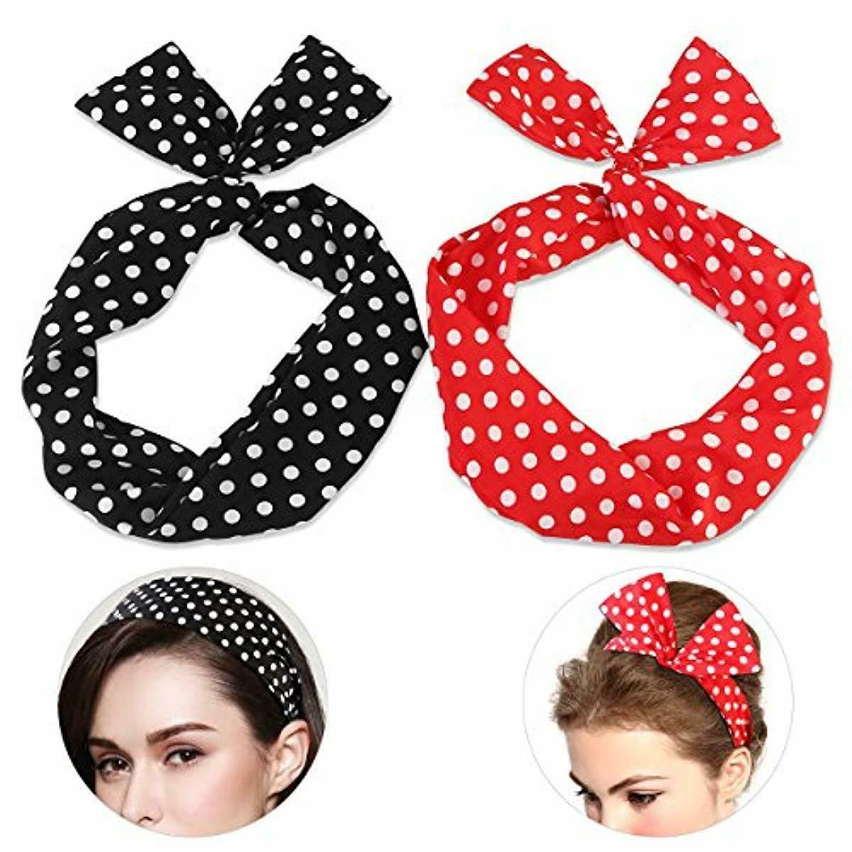 wire headband retro bowknot polka dot wire