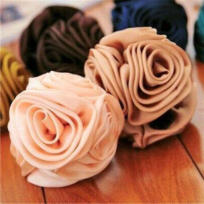 Women Rose Flower Bow Hair Barrette Claw Accessories US