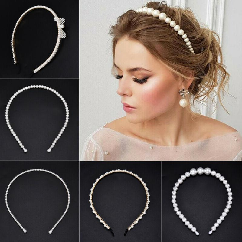 Women Elegant Pearl Headband Hair Hoop Accessories