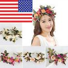 Women Faux Flower Wreath Crown Headband Floral Wedding Hair