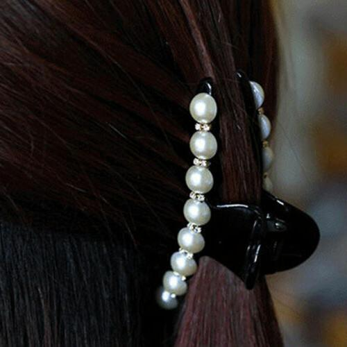 Women Faux Pearl Clear Hair Claw Jaw Clamp Accessories