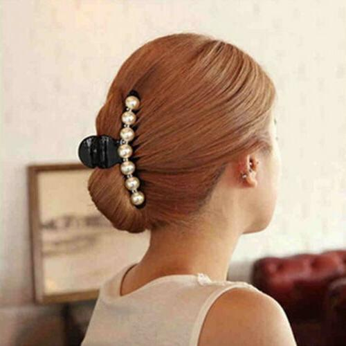 women faux pearl large clear plastic hair
