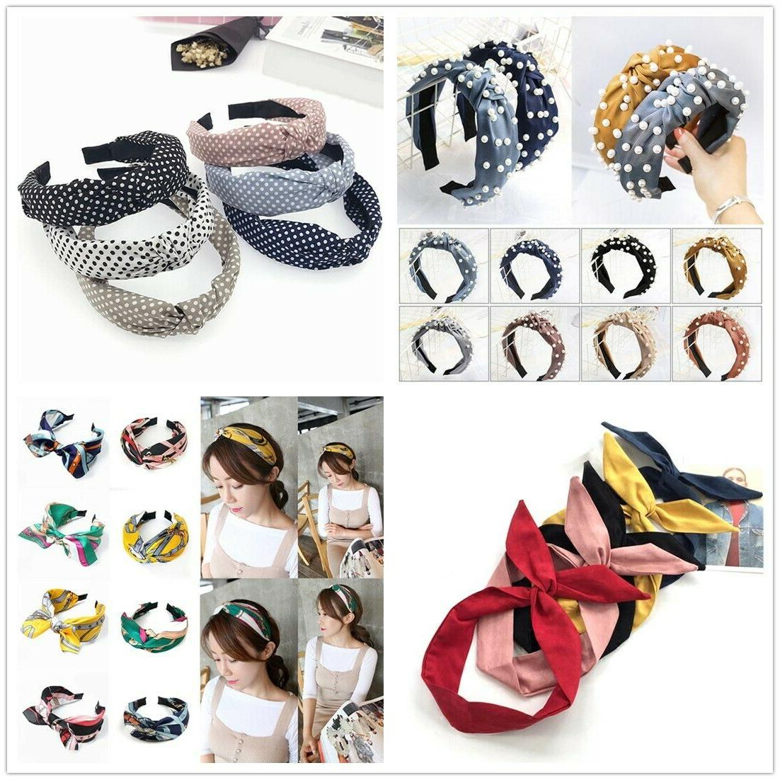 women girls sweet bowknot wide hairband solid