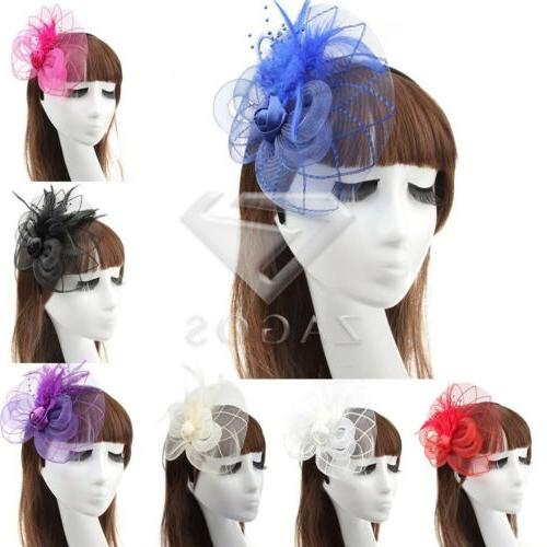 Women Ladies Pillbox Party Hat Fascinator Feather Hair Acces