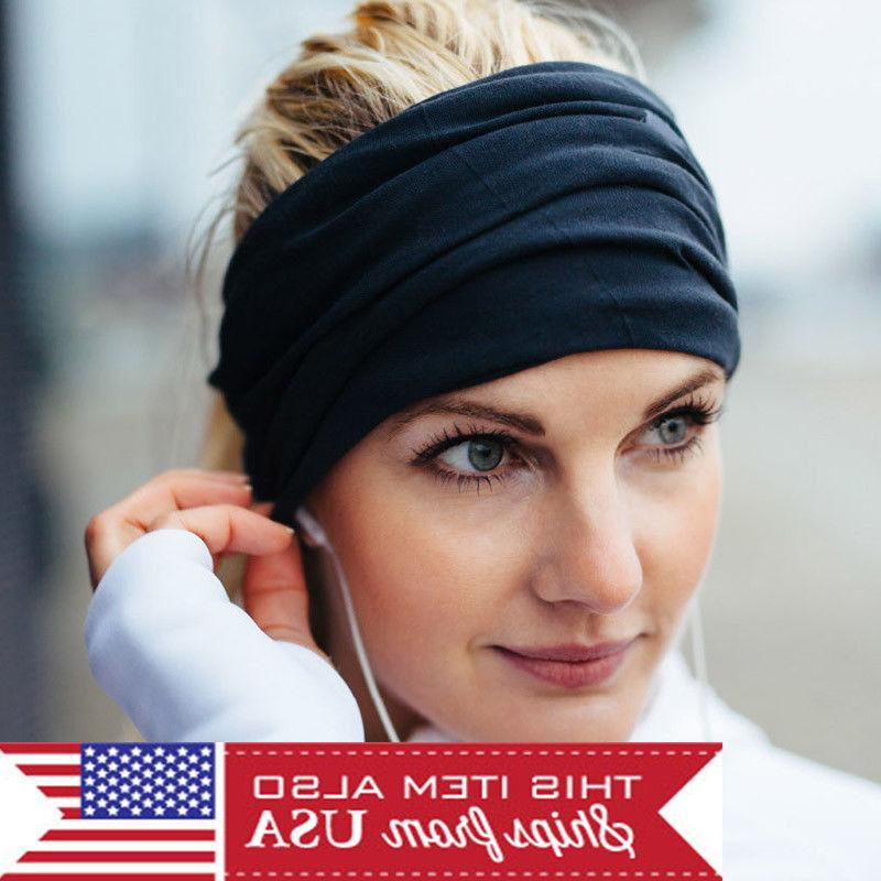 Women Lady Wide Sports Yoga Headband Stretch Hairband Elasti