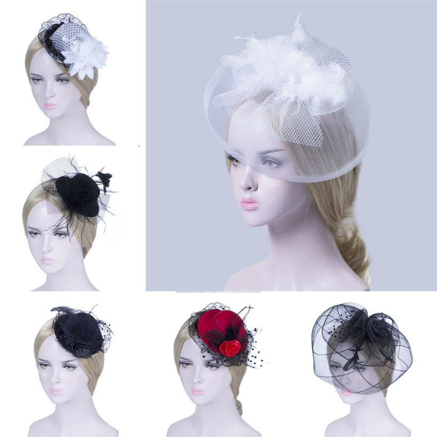 Women Mini Hat Top Hair Clips Fascinator Feather Caps Veil W