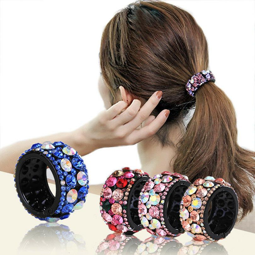 women s crystal hair ponytail ring buckle
