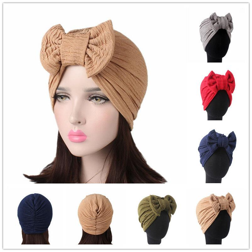 Women's Elegant Bow Muslim Turban India Elastic Chemo Cancer