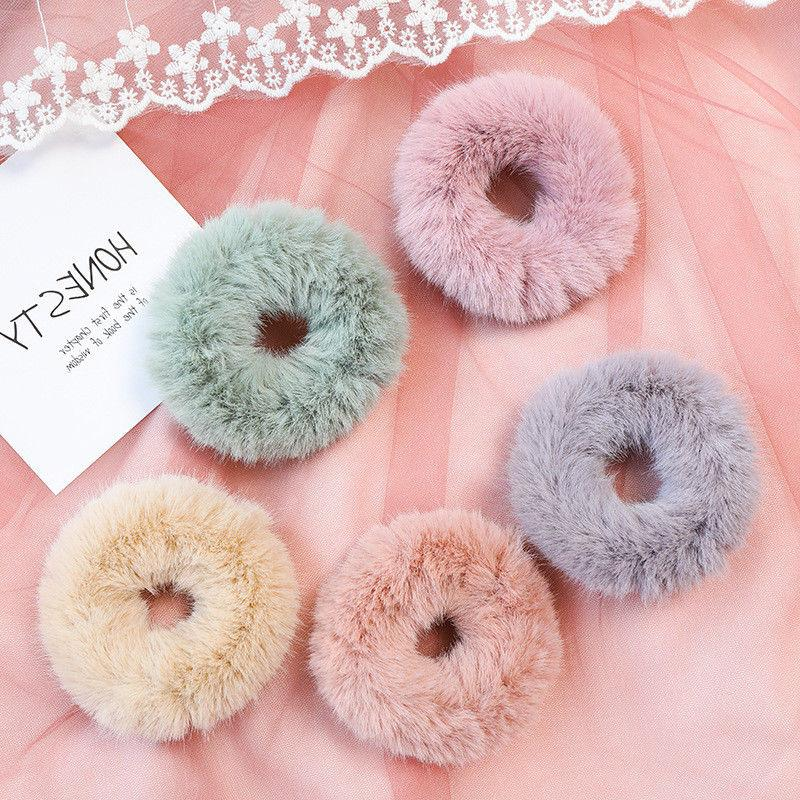 Women's Fur Elastic Hair Ties Ponytail Ring Rope Accessories