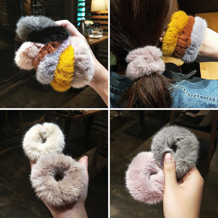 women s fur elastic hair ties ponytail