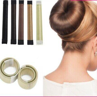 Women Girl's Magic Hair Bun Snap Styling Maker Donut Former