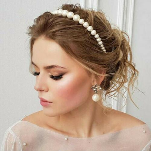US Women Pearl Headband Crystal Wedding Party Hair Hoop Accessories