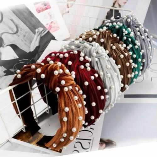 Women's Pearl Velvet Tie Hairband Headband Crystal Hair Hoop